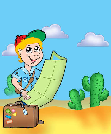 people traveling: Boy with map outdoor - color illustration. Stock Photo