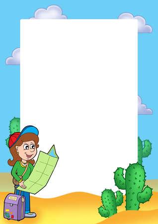 Frame with girl traveller - color illustration. illustration