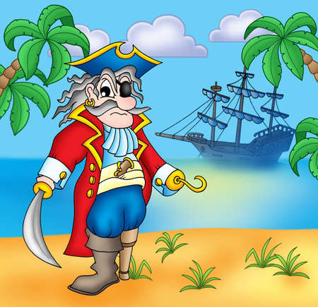 scowl: Old pirate on beach - color illustration. Stock Photo