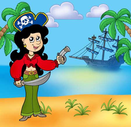 mujer pirata: Chica de pirata en Playa 1 - ilustraci�n de color.