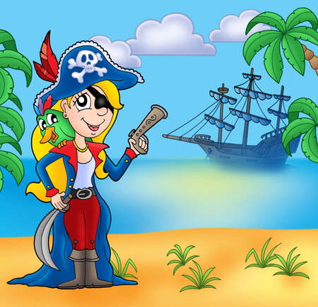 Pirate girl on beach 2 - color illustration. illustration