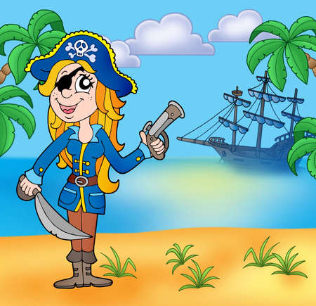 Pirate girl on beach 3 - color illustration. illustration