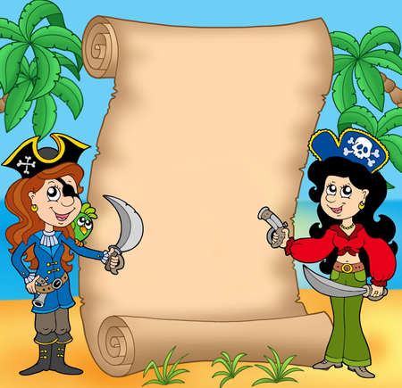filibuster: Pirate girls with scroll 1 - color illustration. Stock Photo