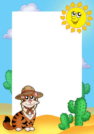 tropical frame: Frame with cat in hat - color illustration. Stock Photo