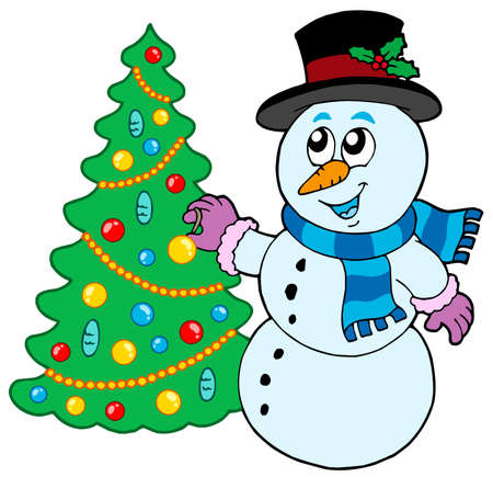 Snowman decorating Christmas tree - vector illustration. Stock Vector - 5741620