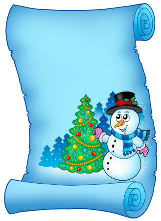 carrot tree: Blue parchment with snowman and tree - color illustration.