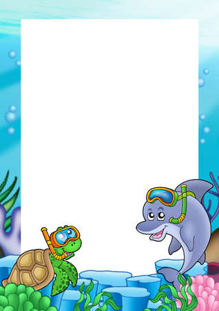 anemones: Frame with turtle and dolphin - color illustration.