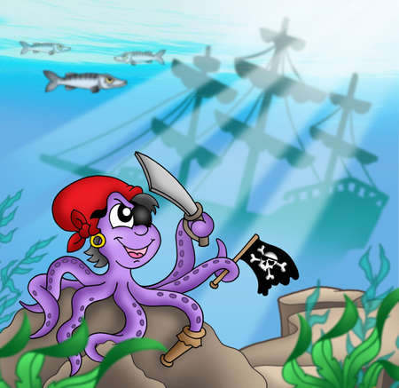 Pirate octopus near ship underwater - color illustration. illustration