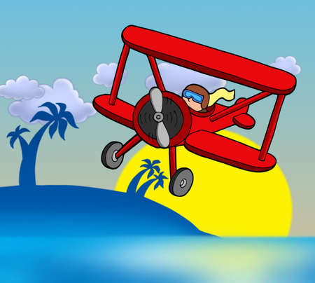 palm pilot: Sunset with biplane - color illustration. Stock Photo