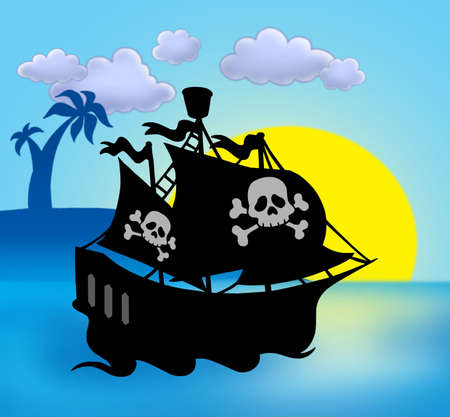 Sunset with pirate ship silhouette - color illustration. Stock Illustration - 5766602