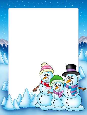 seasonal clothes: Winter frame with snowman family - color illustration.