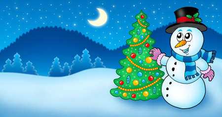 carrot tree: Winter landscape with snowman and tree - color illustration. Stock Photo