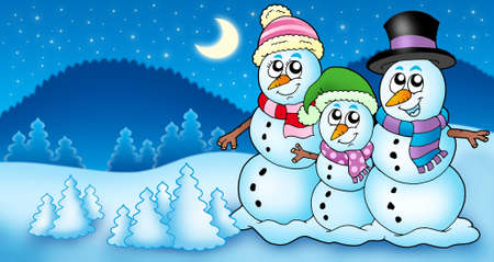 Winter landscape with snowman family - color illustration. Stock Illustration - 5766622