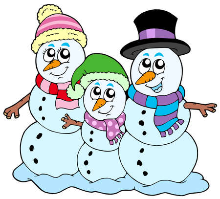 Snowman family on white background Vector