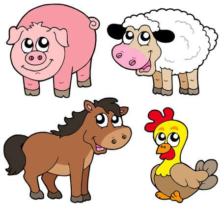 animales de granja: Cute pa�s de recogida de animales Vectores