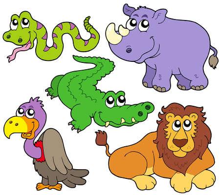 cocodrilo: Recogida de animales de la fauna silvestre cute Vectores