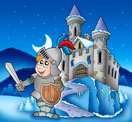 winter palace: Castle and knight in winter landscape - color illustration.
