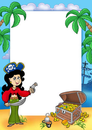 mujer pirata: Marco con la ni�a de piratas y de tesoros 1 - ilustraci�n en color.