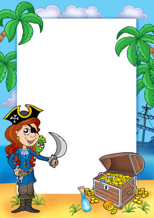 Frame with pirate girl and treasure 2 - color illustration. illustration