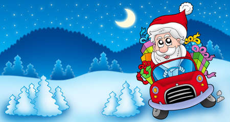 winter car: Landscape with Santa Claus driving car - color illustration.