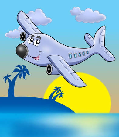 Sunset with airplane - color illustration.