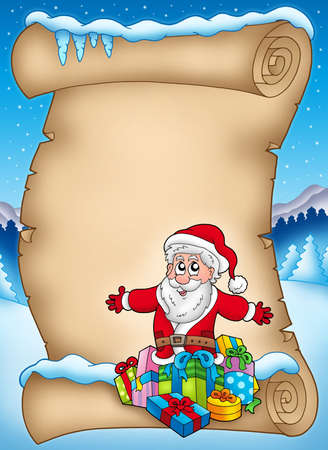 Winter parchment with Santa and gifts - color illustration. illustration