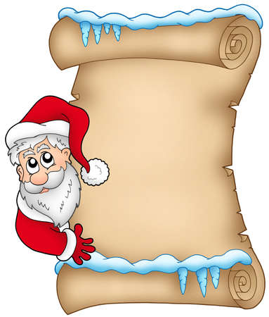 christmas list: Winter parchment with Santa Claus 1 - color illustration.