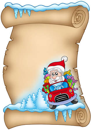 Winter parchment with Santa Claus 3 - color illustration. illustration
