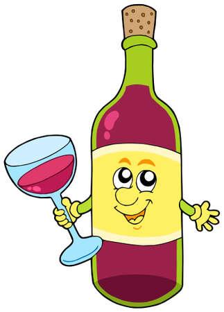 eye glasses: Cartoon bottle of wine - vector illustration.