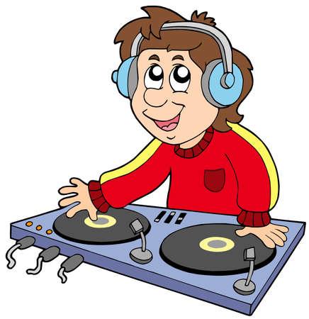 dj boy: Cartoon DJ boy on white background - vector illustration.