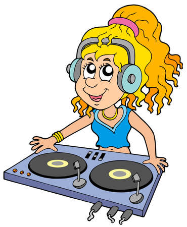 hand beats: Cartoon DJ girl on white background - vector illustration. Illustration