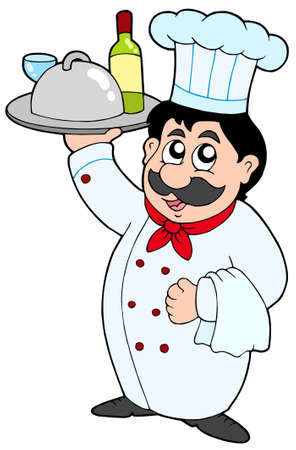 Cartoon chef holding meal and wine - vector illustration. Vector