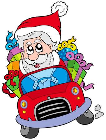Santa Claus driving car - vector illustration.