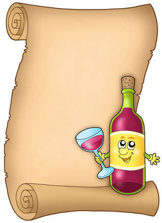stopper: Cartoon wine list - color illustration.
