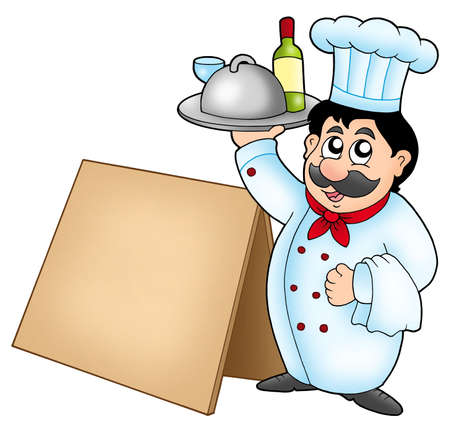 chef clipart: Chef holding meal with wooden table - color illustration.
