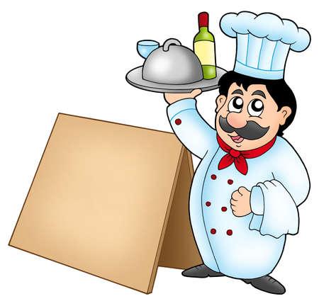 chef caricatura: Comida Chef holding con mesa de madera - ilustraci�n en color.