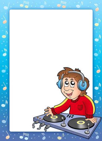 dj boy: Music frame with cartoon DJ boy - color illustration. Stock Photo