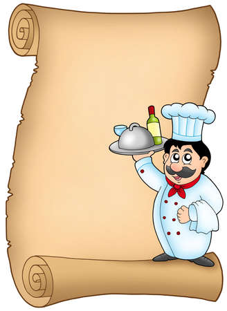Scroll with chef 1 - color illustration. illustration
