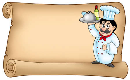 hand holding paper: Scroll with chef 2 - color illustration.