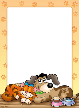 dog sleeping: Frame with cute cat and dog - color illustration. Stock Photo