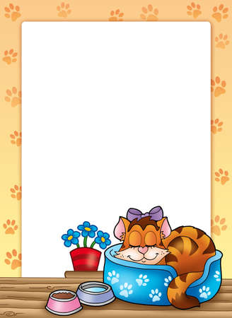 Frame with cute sleeping cat - color illustration.