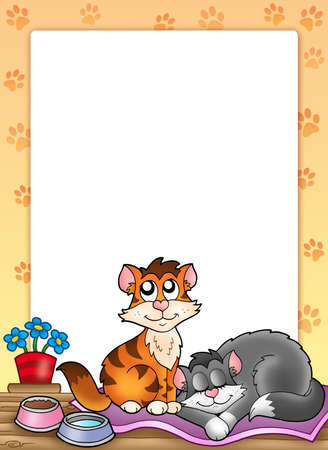 Frame with two cute cats - color illustration. illustration