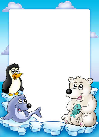 polar bear on the ice: Frame with winter animals - color illustration.