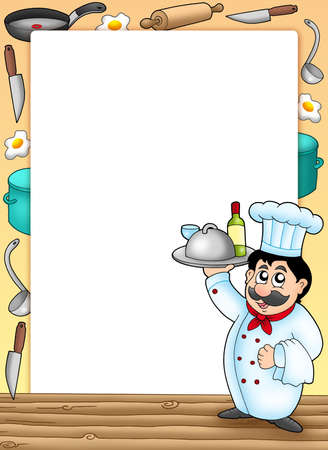 Frame with chef holding meal - color illustration. illustration