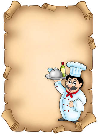 Chef holding meal on parchment - color illustration. illustration
