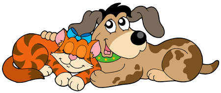 domesticated: Cute cat and dog - vector illustration.