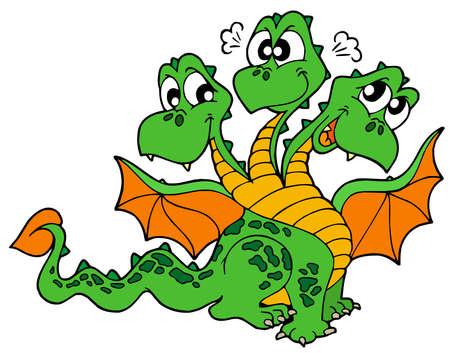 three headed: Cute three headed dragon - vector illustration.