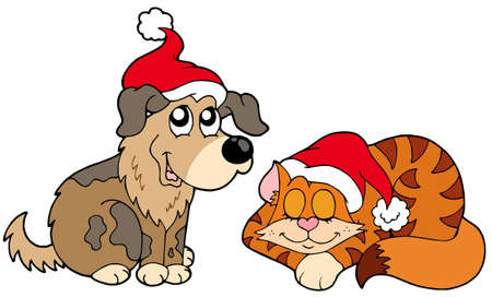 Christmas cat and dog - vector illustration. Vector