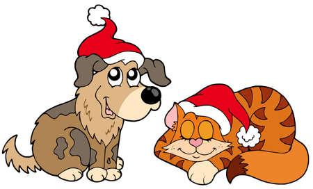 Weihnachten Katze und Hund - Vektor-Illustration. Standard-Bild - 5838915