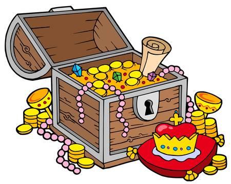 cofre del tesoro: Cofre del Tesoro grandes - ilustraci�n vectorial.  Vectores